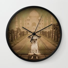 Chihuahua the Yoga Doga Dog Wall Clock