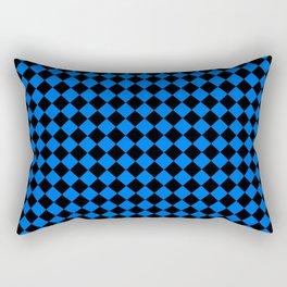 Black and Brandeis Blue Diamonds Rectangular Pillow