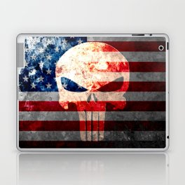Punisher Themed Skull and American Flag on Distressed Metal Laptop & iPad Skin