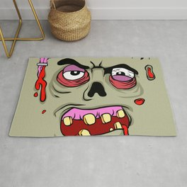 Cartoon Zombie face Rug