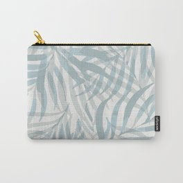 Digital palm leaves in pastel blue and gray Carry-All Pouch