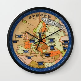 Vintage Map of Europe Wheel Wall Clock