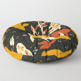 Koi in Black Water Floor Pillow