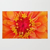f1 Area & Throw Rugs featuring Orange Zinnia by ThePhotoGuyDarren