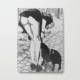Good Doggie - glamour blonde girl caught upskirt, hot erotic artwork, woman body beauty, kinky art Metal Print
