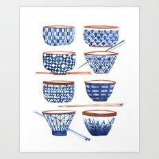Japanese cups Art Print