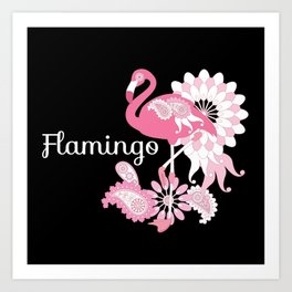Pink Flamingo Cool Cute Black Art Print