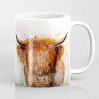 cow Mugs featuring Cow by emegi