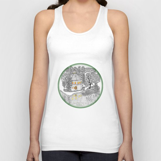 Round Barn Inn, Waitsfield, Vermont near Sugarbush- Zentangle illustration Unisex Tank Top