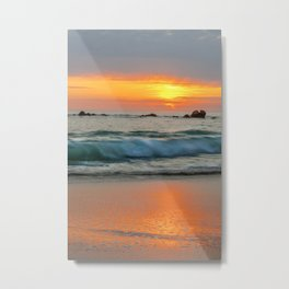 Golden sunset with turquoise waters Metal Print