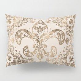 Fleur-de-lis Ornament - pastel gold Pillow Sham