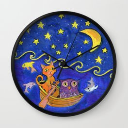 Owl and Pussycat rowed at night Wall Clock