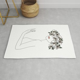 Woman with Flowers Minimal Line Art Rug