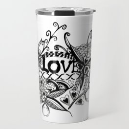 "Ink and pen drawing, Black and White art, ""LOVE"" Travel Mug"