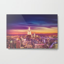 New York City Dusk Sunset Metal Print