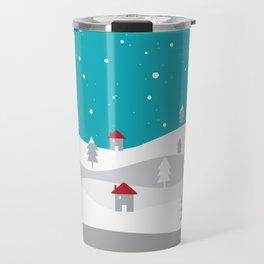 Xmas Winter White Christmas Scene, beautiful landscape winter Travel Mug
