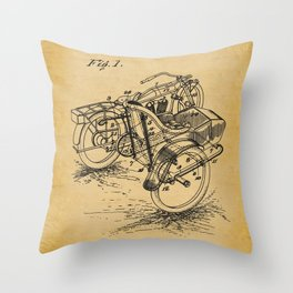 1918 C. J. Gustafson Motorcycle with Side Car Stock Patent Drawing 2 Throw Pillow
