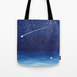 Falling star, shooting star, sailboat ocean waves blue sea Tote Bag