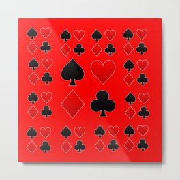 RED & BLACK PLAYING CARD ART ON RED Metal Print