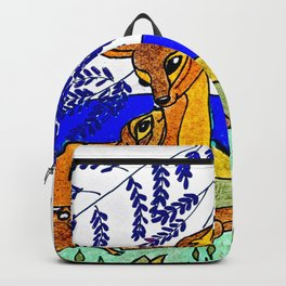 Doe And Fawn In Wildflowers Backpack