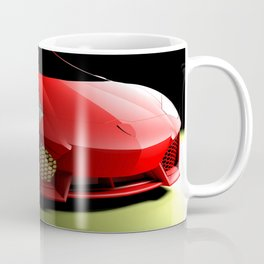 Red sport supercar isolated on black background - 3D rendering illustration Coffee Mug