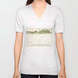 Vintage Map of The Hamptons (1857) Unisex V-Neck