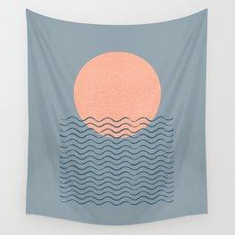 Ocean Wave Sun Blue - Mid Century Modern Wall Tapestry