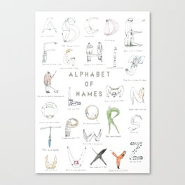 Alphabet of names Canvas Print