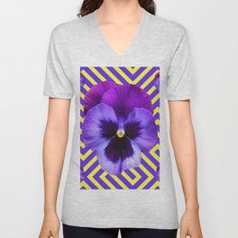 CONTEMPORARY PURPLE PANSIES  FLOWERS YELLOW PATTERNS Unisex V-Neck