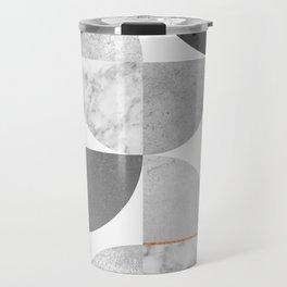 Marble Gray Copper Black and white circles Travel Mug
