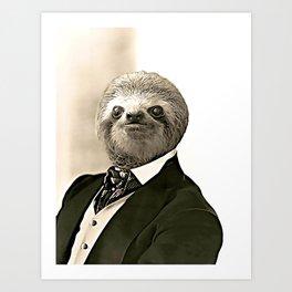 Gentleman Sloth in Authoritative Pose - Cartoon Art Print