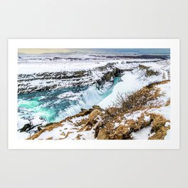 Gulfoss Iceland in Winter Art Print
