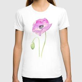 Purple Poppy Floral Watercolor T-shirt
