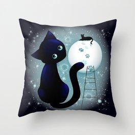 Blue Kitty Dream on the Moon Throw Pillow