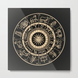 Vintage Zodiac & Astrology Chart | Charcoal & Gold Metal Print