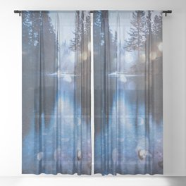 Magical Blue Forest Water Reflection - Nature Photography Sheer Curtain
