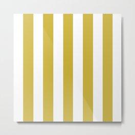 Old gold beige - solid color - white vertical lines pattern Metal Print