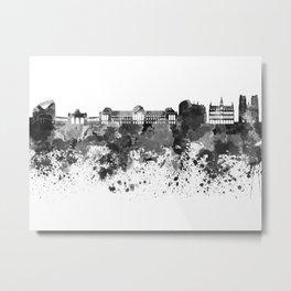 Brussels skyline in black watercolor Metal Print