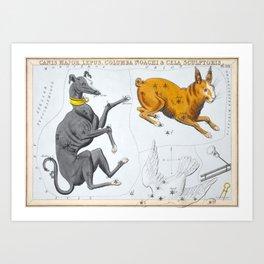 Antique Constellation Map of Canis Major, Lepus, Columba, Caelum Art Print