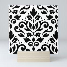 Scroll Damask Large Pattern Black on White Mini Art Print