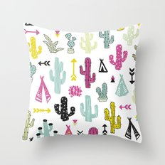 Colorful indian summer cactus garden and teepee illustration patte Throw Pillow