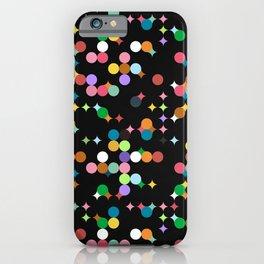 CONFETTI bright colourful dots on black background iPhone Case