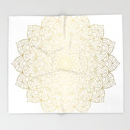 Unfolding Gold Mandala Throw Blanket