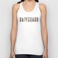 surfboard Tank Tops featuring floral surfboard by fieldguided
