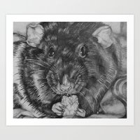 rat Art Prints featuring Rat by Natasha Maiklem