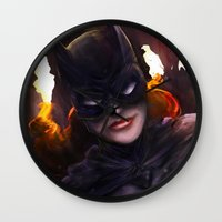 batgirl Wall Clocks featuring Batgirl by Nicole M Ales
