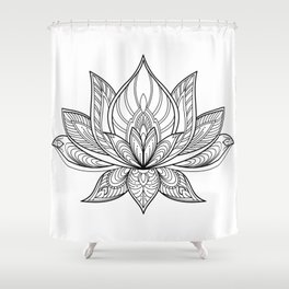 Lotus Line Drawing Shower Curtain