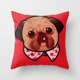 Toofy Pug  Throw Pillow