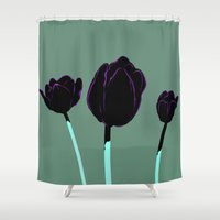 tulips Shower Curtains featuring Tulips by Ludovic Jacqz
