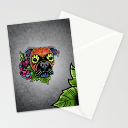Boxer in Fawn - Day of the Dead Sugar Skull Dog Stationery Cards